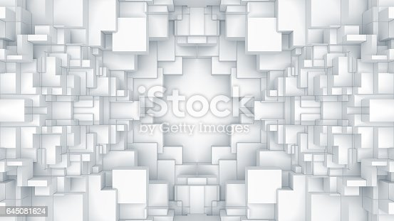 istock Abstract digital graphic cubes background 645081624