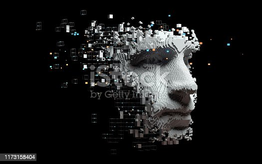 istock Abstract digital human face 1173158404
