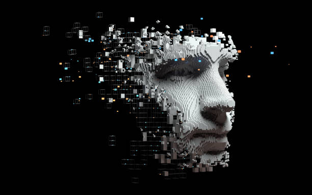 Abstract digital human face Artificial intelligence concept of big data or cyber security. 3D illustration artificial intelligence stock pictures, royalty-free photos & images