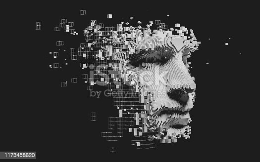 istock Abstract digital human face 1173458620