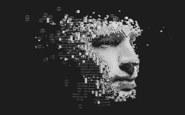 abstraktes digitales menschliches gesicht - gepixelt stock-fotos und bilder
