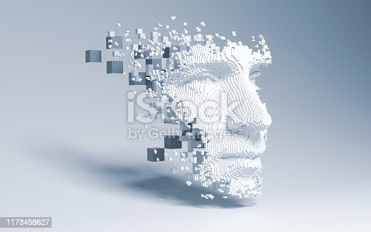 istock Abstract digital human face 1173458627