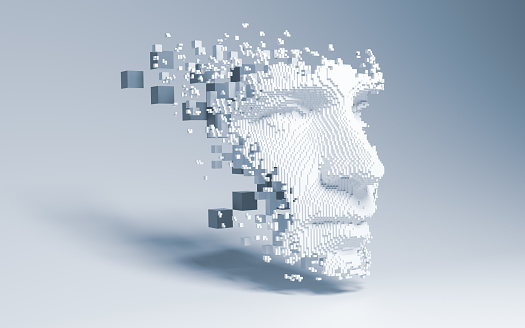 Artificial intelligence concept of big data or cyber security. 3D illustration