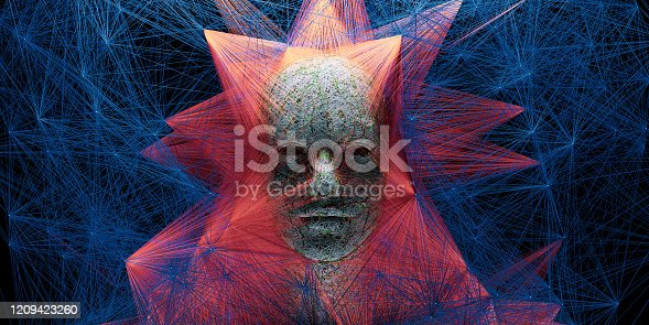 1128821780 istock photo Abstract digital human face with big data connection or mistic mask 1209423260