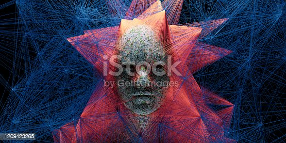1128821780 istock photo Abstract digital human face with big data connection or mistic mask 1209423265