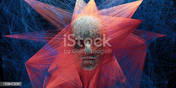 1128821780 istock photo Abstract digital human face with big data connection or mistic mask 1209423267
