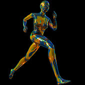 Abstract digital illustration from 3D rendering of a colorful woman running sport style