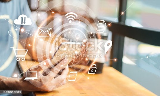 istock Abstract digital marketing. Man using mobile global network connection and icon customer on screen. Social media, Networking and business technology 1069554654