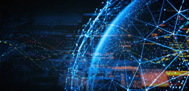 abstrakte digitale netzwerk und kommunikation - glasfaser telekommunikationsgerät stock-fotos und bilder
