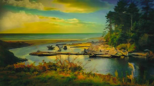 abstrakte digitale malerei herbst bucht und dem pazifischen ozean bei sonnenuntergang - bilder landschaften stock-fotos und bilder
