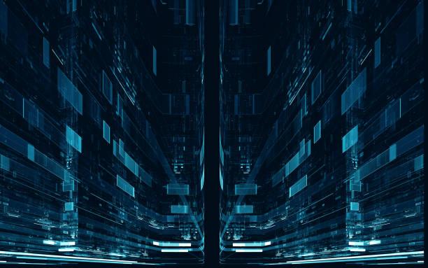 abstrakte digitale science-fiction futuristische hintergrund - quant stock-fotos und bilder