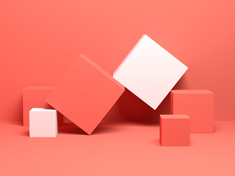 Abstract digital still life background with cubes 3 d