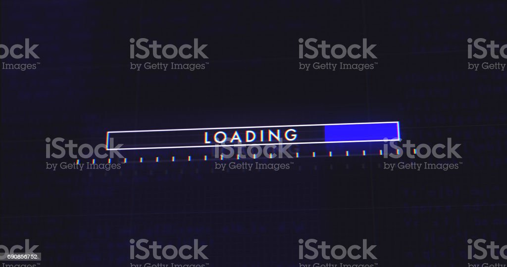 Abstract Digital User Interface HUD Loading Bar in Cyber Space stock photo