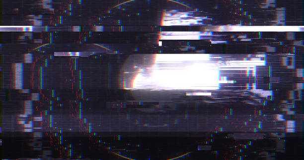 Abstract Digital User Interface HUD with Pixel Noise Glitch Error Video Damage stock photo