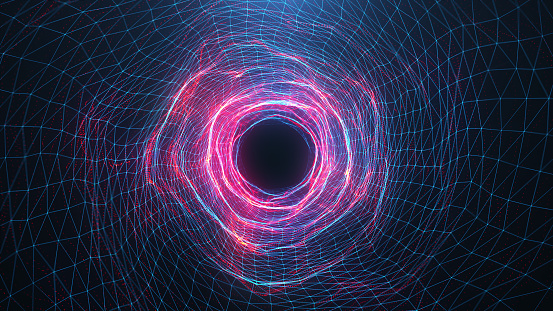 istock Abstract digital wormhole, tunnel consisting blue and red sparkling particle and lines. Way through the digital network beautiful blue and red particles. Journey through space and time. 3D Rendering 1166376524