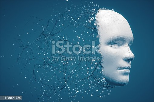 istock Abstract Disintegrating Human Face 1128821780