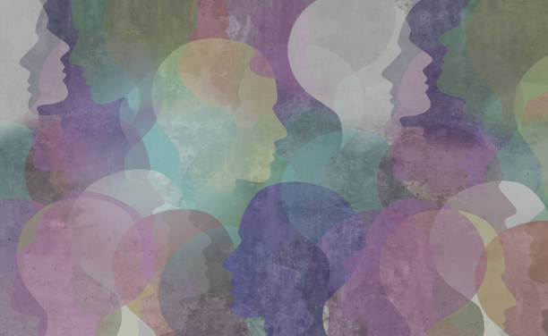 Abstract Diversity Society Abstract demographics art as a diversity society background as a color diverse ethnic group of people in a grunge texture as a social and public idea in a 3D illustration style. citizenship stock pictures, royalty-free photos & images