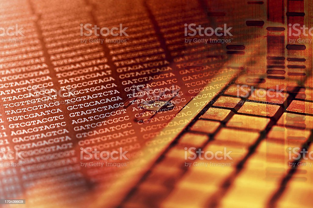 Abstract DNA encoding with computer keyboard stock photo