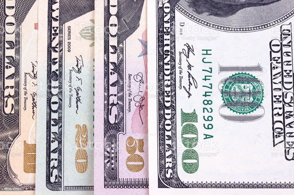 Abstract dollar bills of different denominations background. stock photo