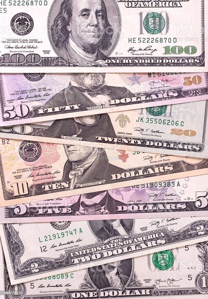Abstract dollar bills of different denominations background. royalty-free stock photo