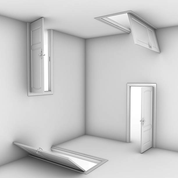 abstract doors 3d illustration - illusion stock photos and pictures