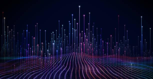 abstrakcyjny punkt punktowy łączy się z linią gradientu - sieć komputerowa zdjęcia i obrazy z banku zdjęć