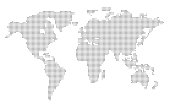 Highly organized abstract dotted world map from round dots isolated on white background. Template for web site, design, cover, infographics. 3D illustration.