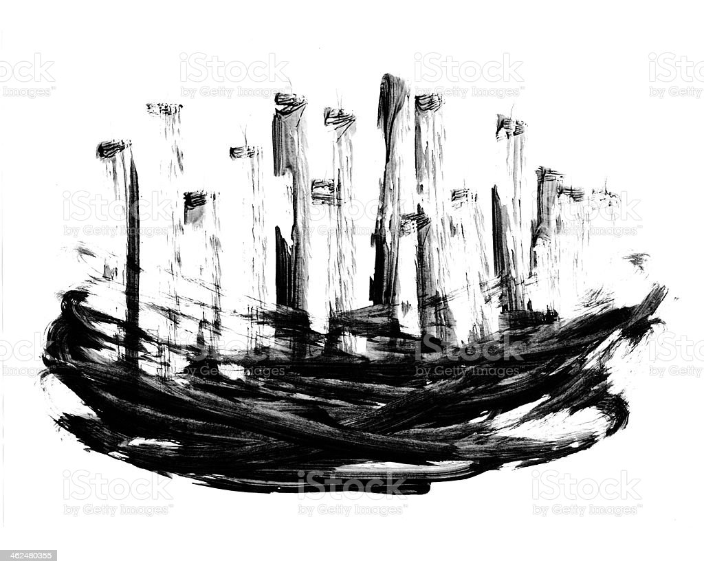 Abstract Drawing Chinese Ink Background stock photo
