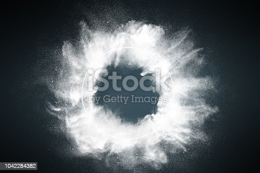 istock Abstract dust explosion frame background 1042284382