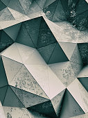 Abstract dusty textured polygonal background, 3d render