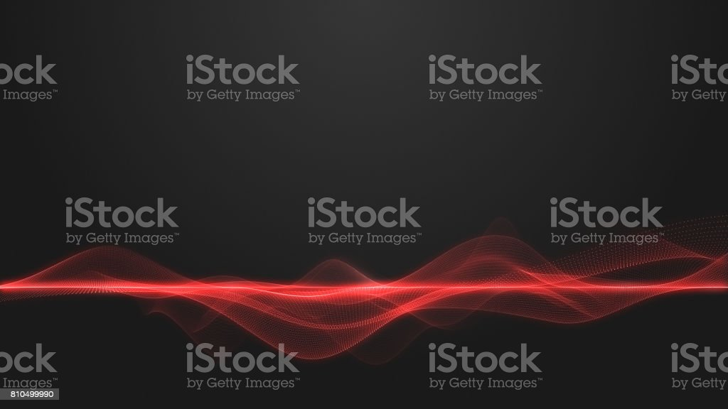 Abstract dynamic wave form on dark background, 3D wave energy background, Wave energy, Scientific modern background stock photo