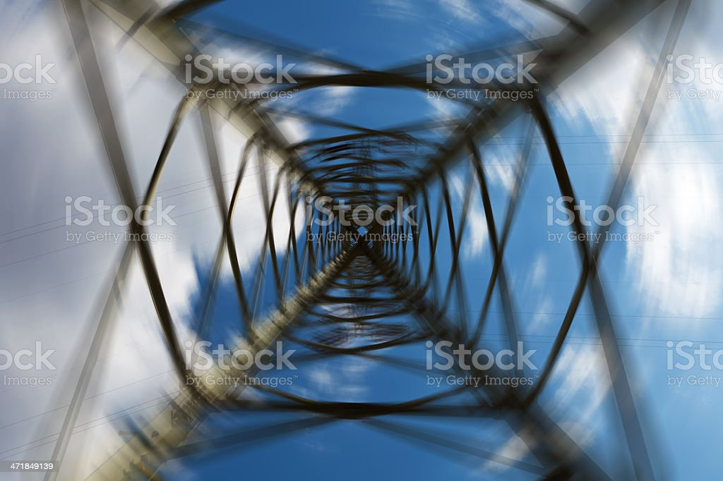 Abstract electricity pylon from below royalty-free stock photo