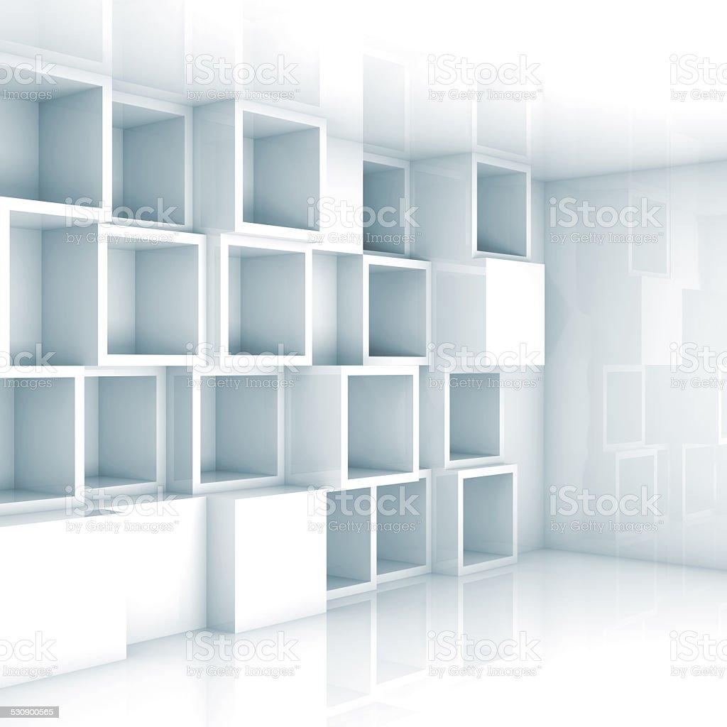 Tło Puste Wnętrze 3d Sześcian Białe Puste Półki Na ścianie