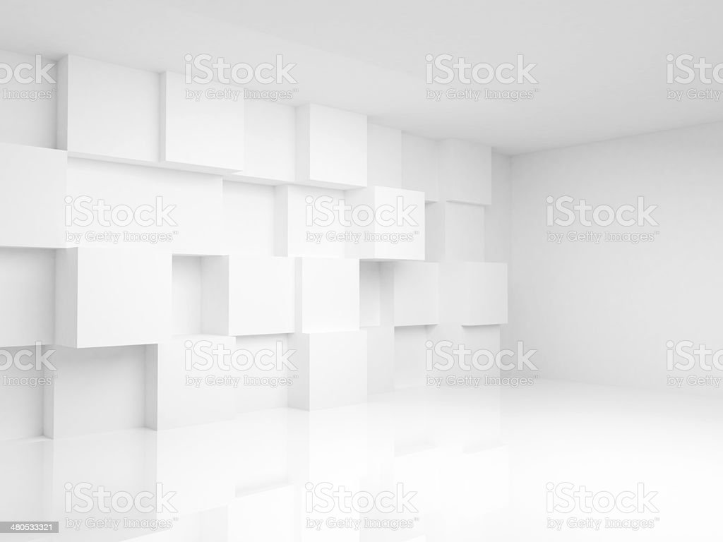 Abstract empty 3d interior with white cubes on the wall stock photo