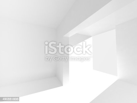 istock Abstract empty 3d interior with white walls and bright beam 490881835