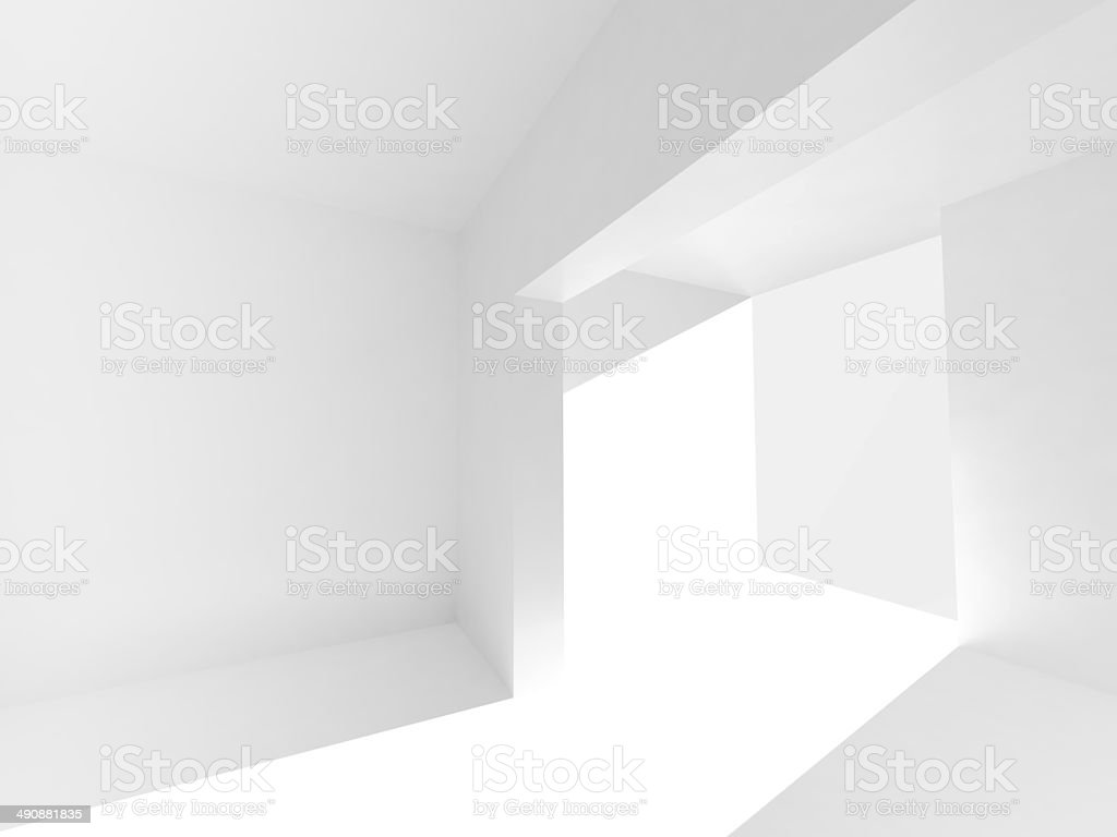 Abstract empty 3d interior with white walls and bright beam stock photo