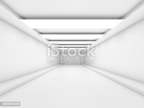 istock Abstract empty 3d white tunnel 635850008