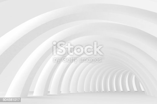 istock Abstract empty architecture space, bright white concentric arches tunnel 504581017