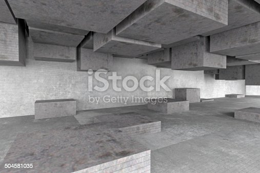 istock Abstract empty architecture space, dark gray concrete walls and shapes 504581035