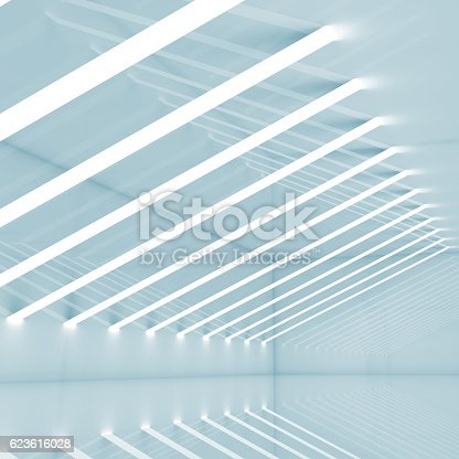 istock Abstract empty blue 3 d square interior 623616028