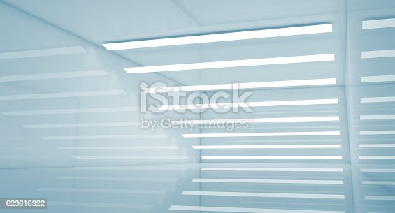 istock Abstract empty blue interior 3 d render 623616322