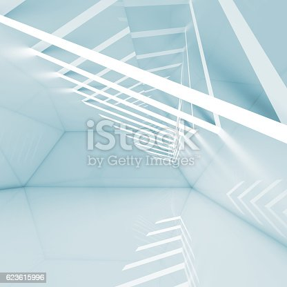 istock Abstract empty blue interior background 623615996