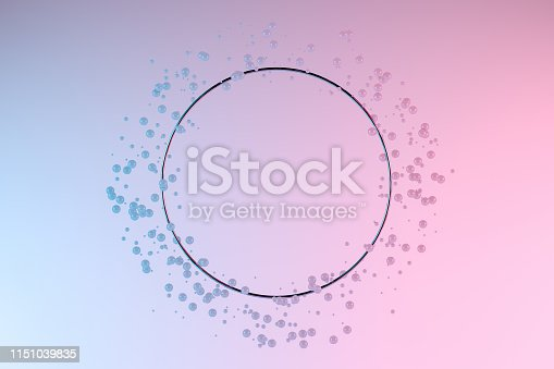 511983606 istock photo Abstract Empty Circle Frame with 3D Geometric Shapes, Spheres, Levitation, Minimal Design 1151039835