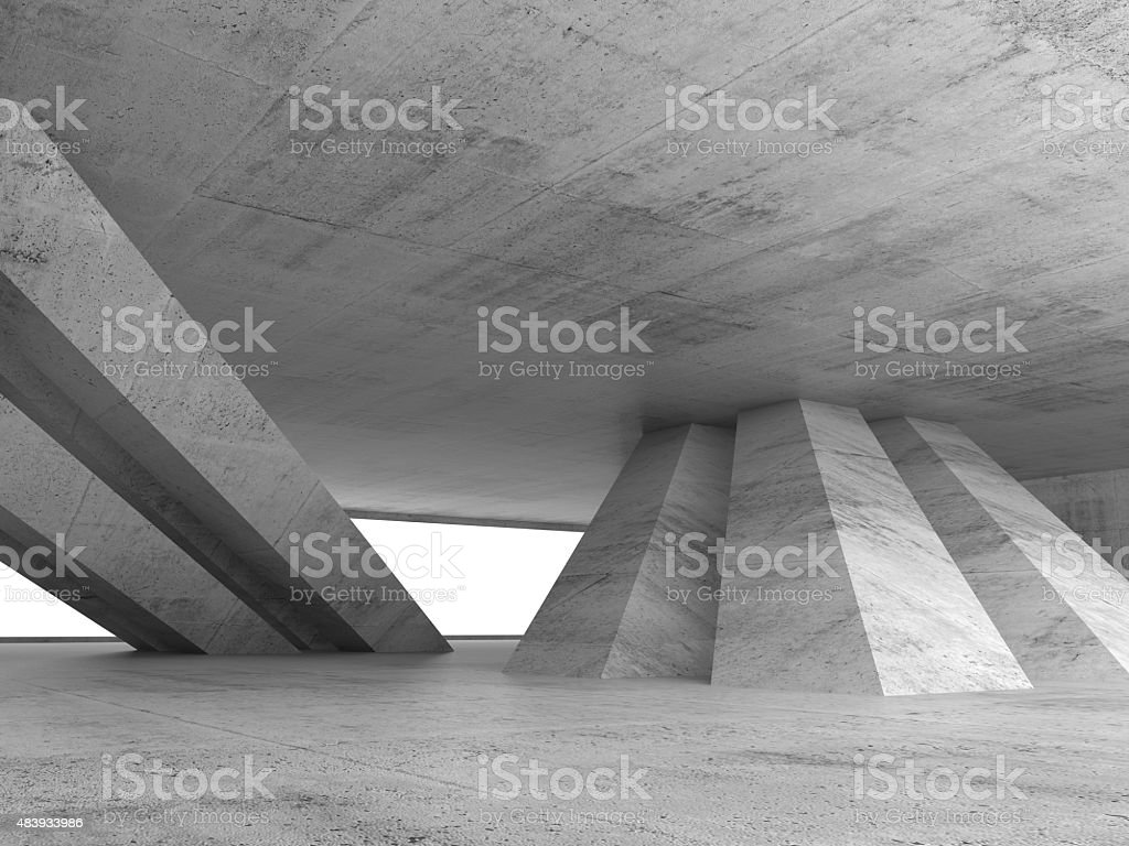 Abstract empty concrete interior 3d render stock photo