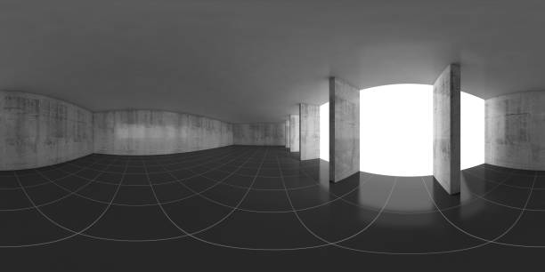 Abstract empty concrete room, 3d panorama stock photo