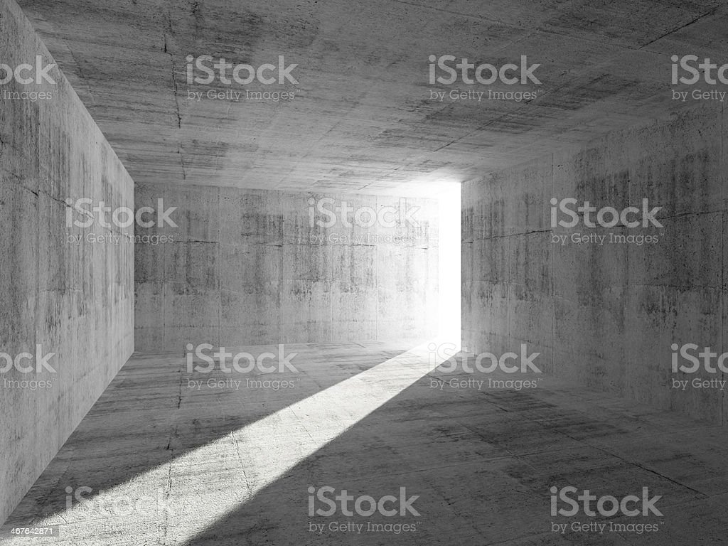 Abstract empty concrete room interior with light beam stock photo