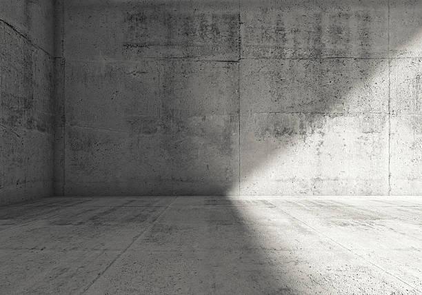 Abstract empty dark concrete room 3d interior stock photo