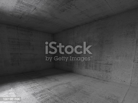 Abstract empty dark concrete interior background, 3d render illustration