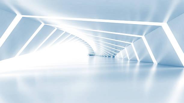 Abstract vacío iluminado azul claro brillante corredor, 3d - foto de stock