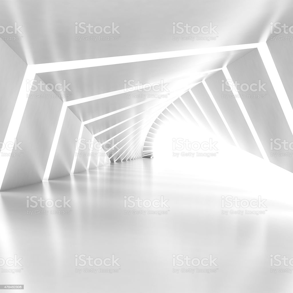 Abstract empty illuminated white shining bent corridor interior stock photo